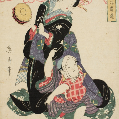 Kikugawa Eizan - Courtesan with child (Furyu bijin kodakara asobi) - Circa 1814-1817