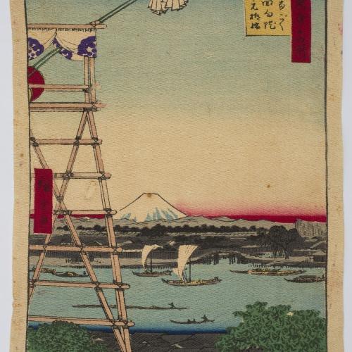 Ando Hiroshige - Motoyanagi Bridge and Ekôin Temple in Ryôgoku (One Hundred Views of Famous Places in Edo) (Meisho edo hyakkei) - 1857