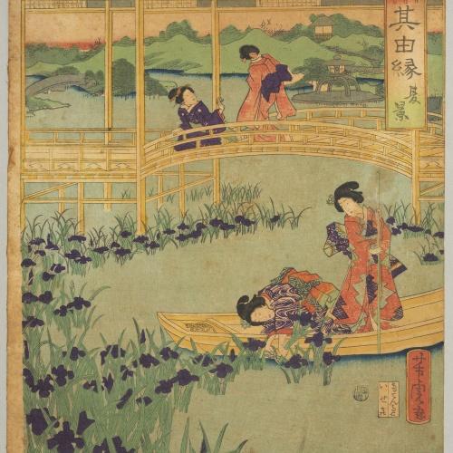 Utagawa Yoshitora - Scene in a river - Circa 1863