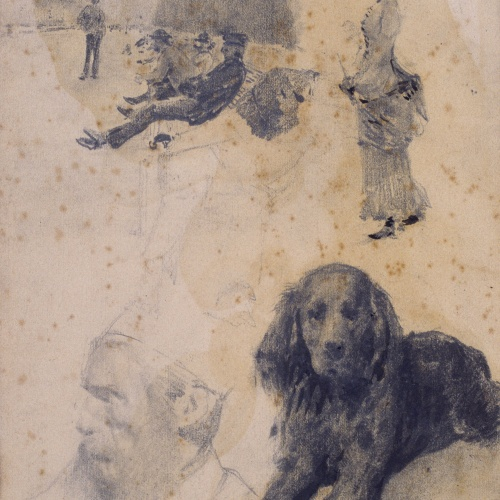 Santiago Rusiñol - Estudio de figuras y perro - Hacia 1883