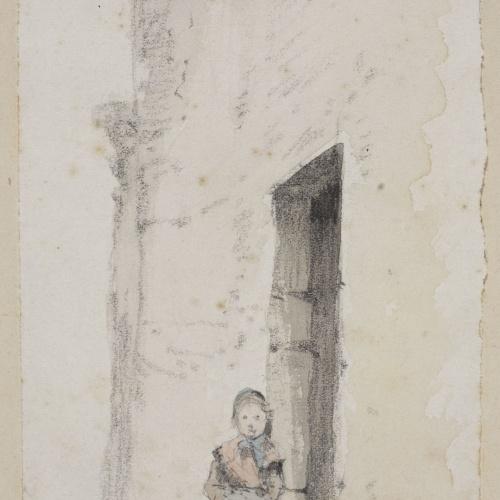 Modest Urgell - Carrer de poble amb nens - Cap a 1861-1888