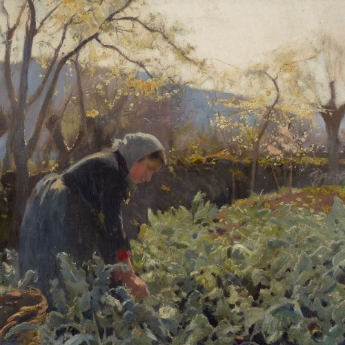 Joaquim Mir - Woman Farmer Picking Cabbages - 1897