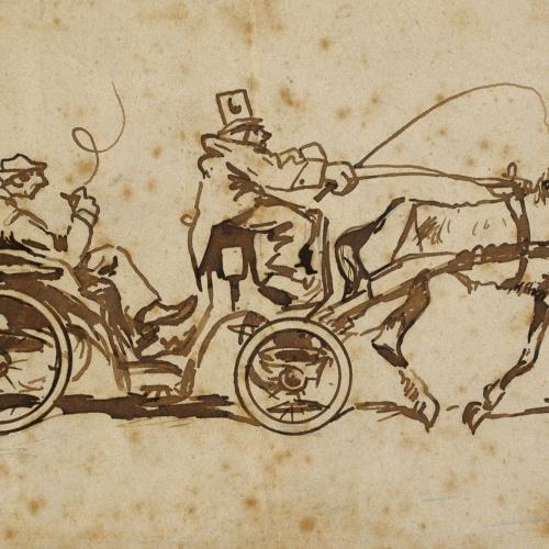 Ramon Casas - One-horse Tilbury with a passenger - Circa 1889