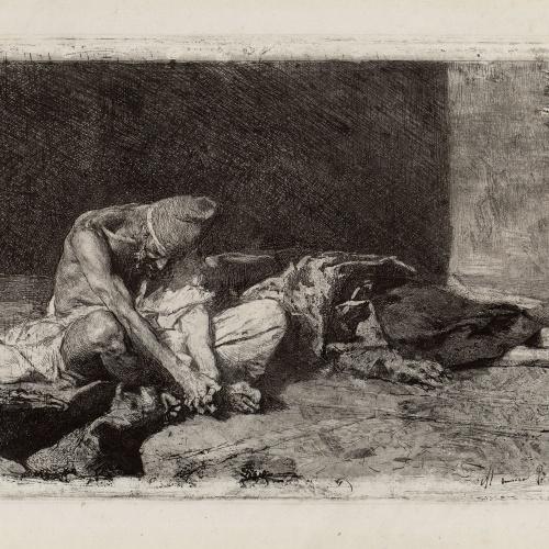 Marià Fortuny - Àrab vetllant el cadàver del seu amic - 1866