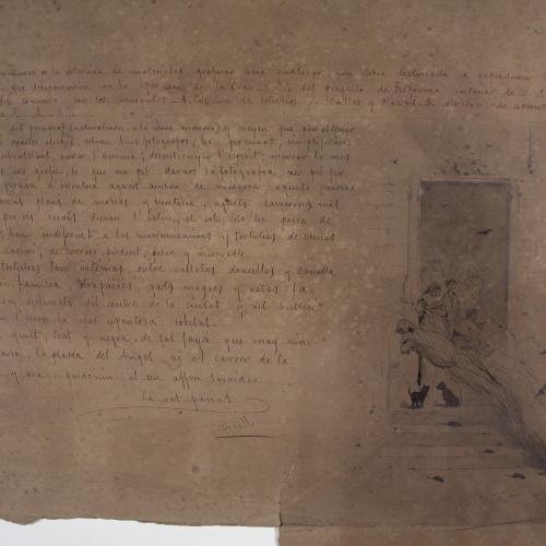 Modest Urgell - Escena que il·lustra un escrit - Cap a 1860-1870