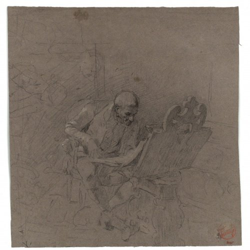 Marià Fortuny - Study for the picture 'The Print Collector' - Circa 1863-1867