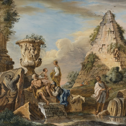 Anònim. Itàlia - Capriccio with the Pyramid of Caio Cestio and the Borghese Vase - End of 18th century