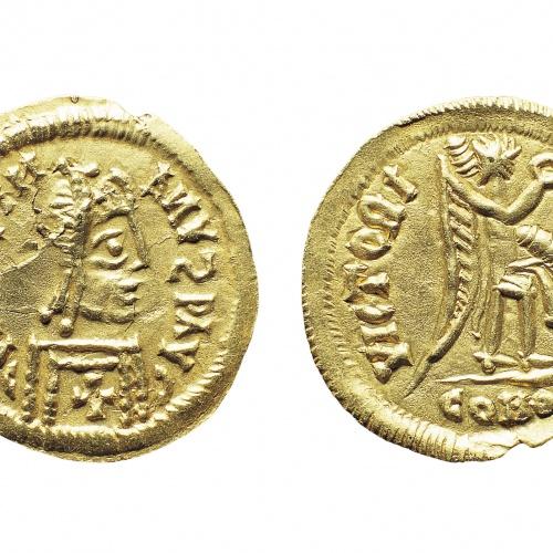 A nom de Justinià I - Tremissis d'imitació - 527-567