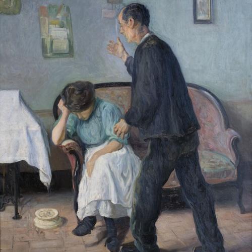 Rafael Sanchis - Interior Scene - Barcelona, 1911