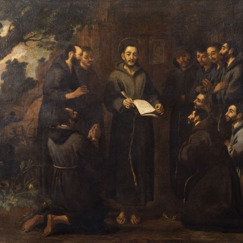 Antoni Viladomat - Saint Francis Reads to His Companions the New Rule of His Order - Circa 1729-1733