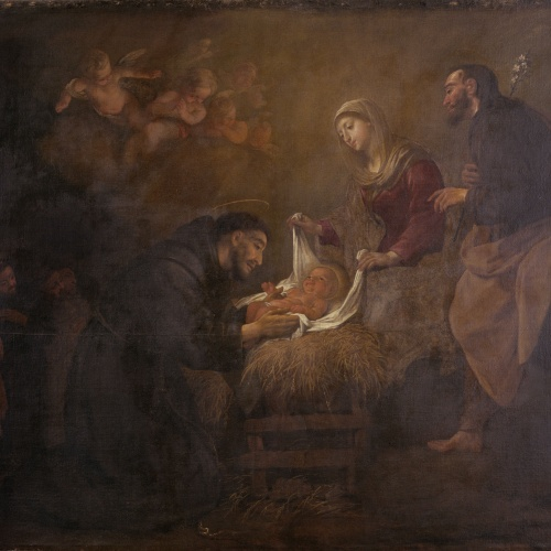 Antoni Viladomat - Apparition of the Holy Family to Saint Francis in the Crib at Greccio - Circa 1729-1733