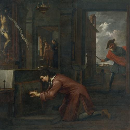 Antoni Viladomat - Sant Francesc rep l'ordre del Crist de sant Damià de reparar la casa de Déu - Cap a 1729-1733
