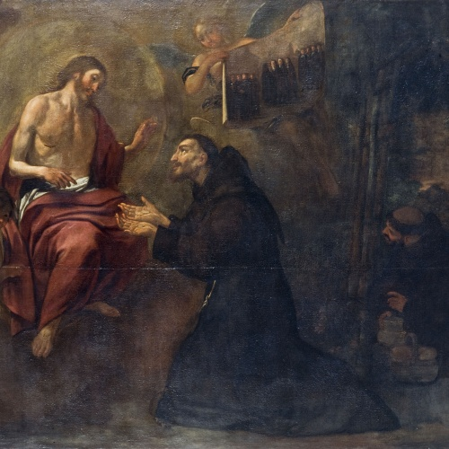 Antoni Viladomat - Saint Francis Gives Three Coins to Jesus, Symbol of the Triple Vow - Circa 1729-1733
