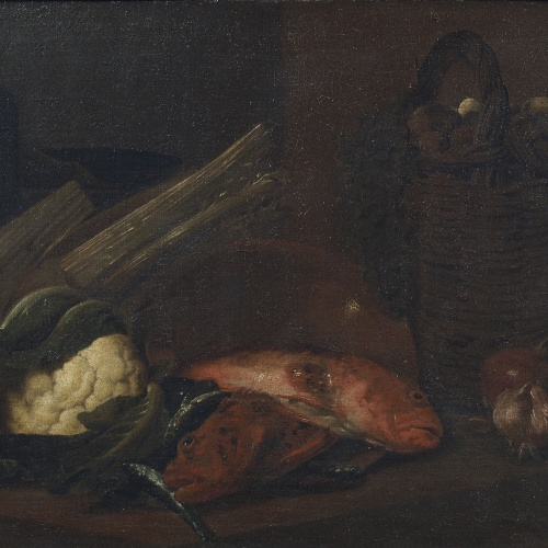 Antoni Viladomat - Still Life with Vegetables, Grapes, Eggs, Walnuts, Scorpion Fishes and Sardines - Between 1720-1755
