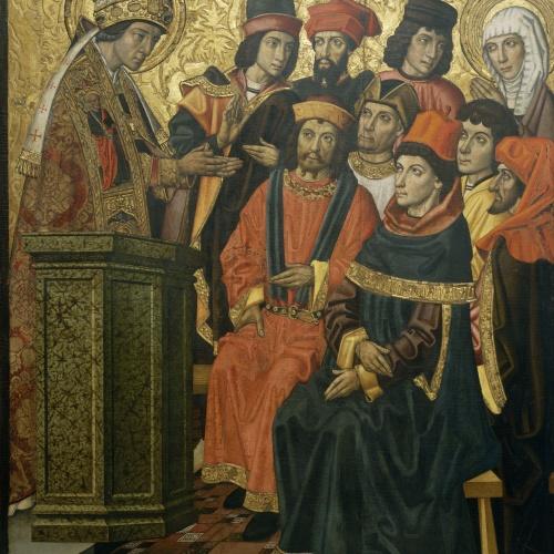 Grup Vergós - Sant Agustí i santa Mònica en un sermó de sant Ambròs - Cap a 1470/1475-1486