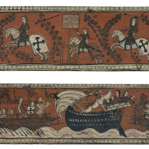 Anònim. Aragó - Taula d'enteixinat amb cavallers, galeres i nau d'alta borda - Segle XIV