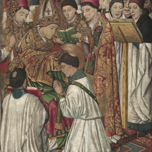 Jaume Huguet - Sant Vicenç ordenat per sant Valeri - Cap a 1455-1460