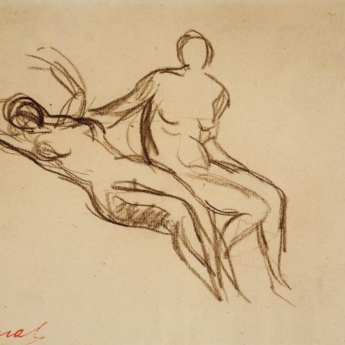 Ricard Canals - Apunte de desnudos femeninos - Hacia 1920