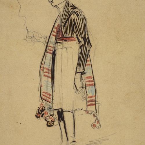 Ramon Casas - Mr. Deering in Alicante costume, smoking - Circa 1909