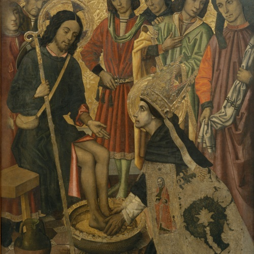 Grup Vergós - Saint Augustine washing the feet to Pilgrim Jesus - Circa 1470/1475-1486
