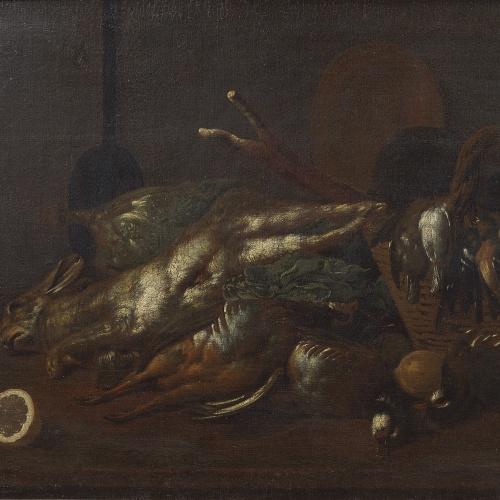 Antoni Viladomat - Still Life with Vegetables, Lemons, Rabbit, Partridges and other Birds - Between 1720-1755