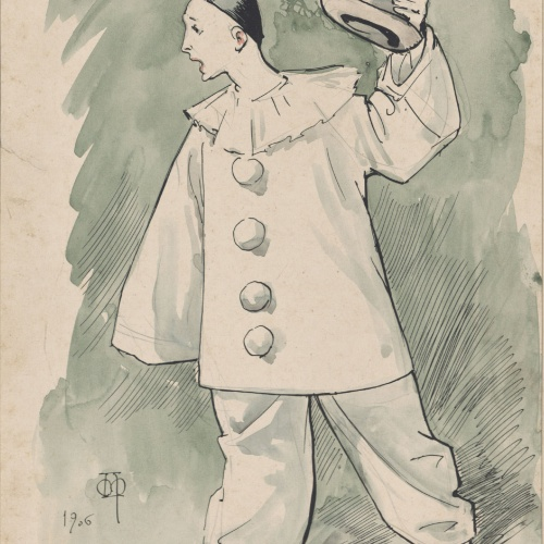 Apel·les Mestres - Clown (design for a costume of theater)  - 1906