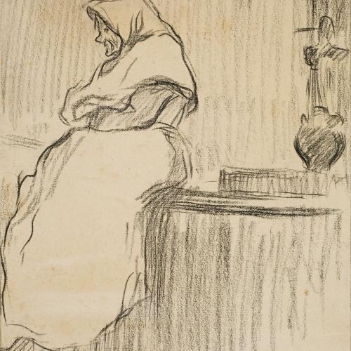 Isidre Nonell - Dona omplint un càntir - Cap a 1890-1896