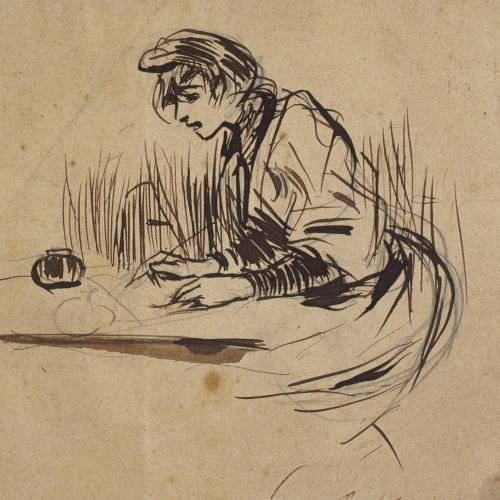 Ramon Casas - Woman writing a letter - 1892