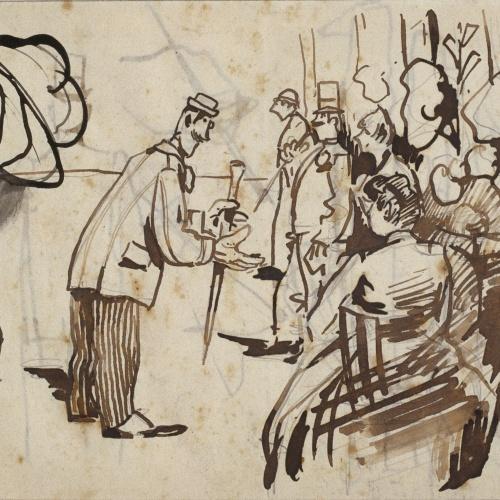 Ramon Casas - Apunt de la Rambla de les Flors i caps (anvers) / Croquis de figures masculines i apunts de mans (revers) - Cap a 1890-1900