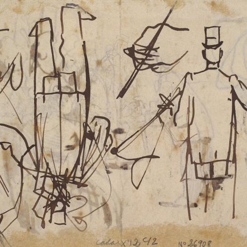 Ramon Casas - Apunt de la Rambla de les Flors i caps (anvers) / Croquis de figures masculines i apunts de mans (revers) - Cap a 1890-1900 [1]