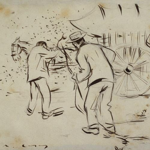 Ramon Casas - Ramon Casas and Santiago Rusiñol yoking the horse to the cart - 1892