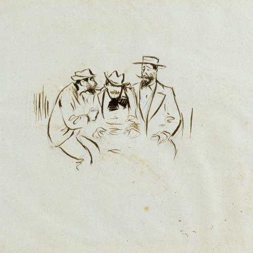 Ramon Casas - Study for the illustration 'Ramon Casas, Raimon Casellas and Santiago Rusiñol' - 1892