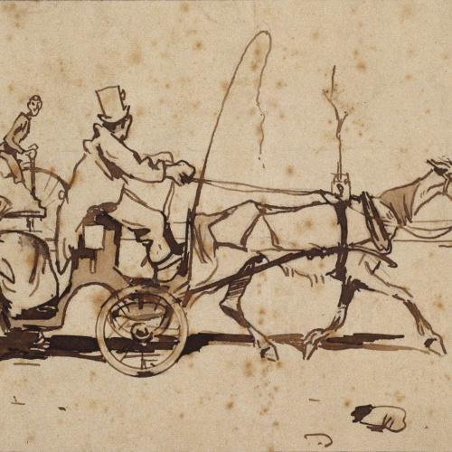 Ramon Casas - Study for the illustration 'Al ayre llibre. Los uns van a dá una volta' (Outdoor life. Some go riding) - 1899