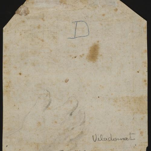 Antoni Viladomat - Cap de frare (sant Bru?) (anvers) / Estudi de mà (revers) - Cap a 1730 [1]