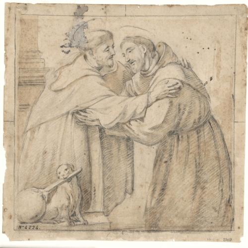 Antoni Viladomat - Saint Dominic de Guzmán and Saint Francis Embracing - Circa 1720-1740