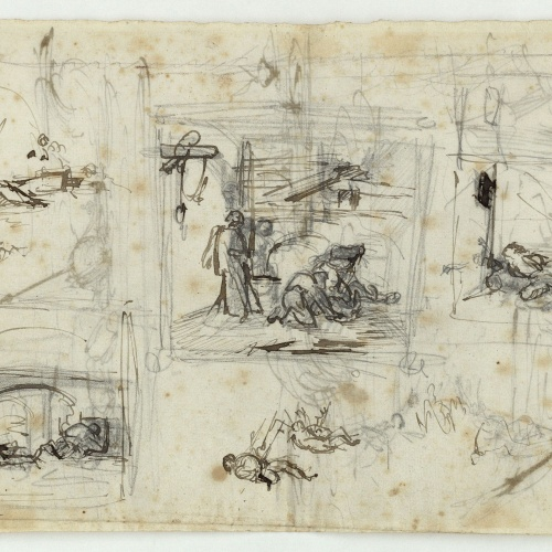 Marià Fortuny - Rough sketch for a composition - Circa 1856-1858