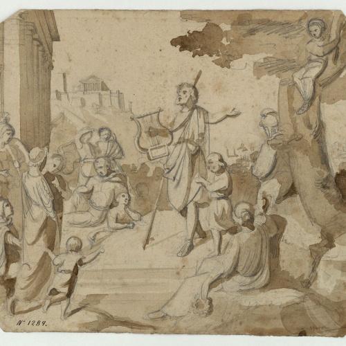 Marià Fortuny - Homer recitant poemes (anvers) / Croquis de figures (revers) - Cap a 1855-1856