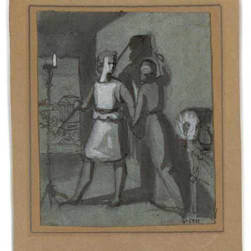 Marià Fortuny - Cora, filla de Dibutades de Sicione, dibuixant el perfil del seu amant - Cap a 1856-1858