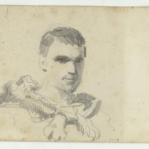 Marià Fortuny - Bust of a male model - Circa 1856-1858