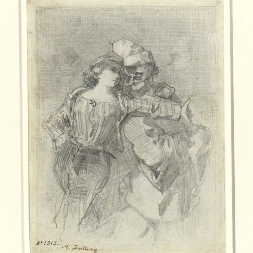 Marià Fortuny - Parella de pierrots - Cap a 1855-1857
