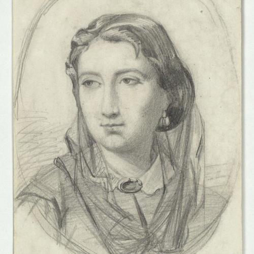 Marià Fortuny - Bust femení (anvers) / Esbós de cara (revers) - Cap a 1856-1858