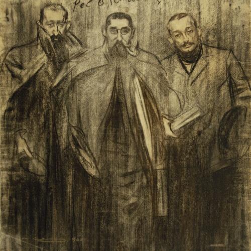 Ramon Casas - Self-portrait between Miquel Utrillo and Leandre Galceran - Circa 1899-1900