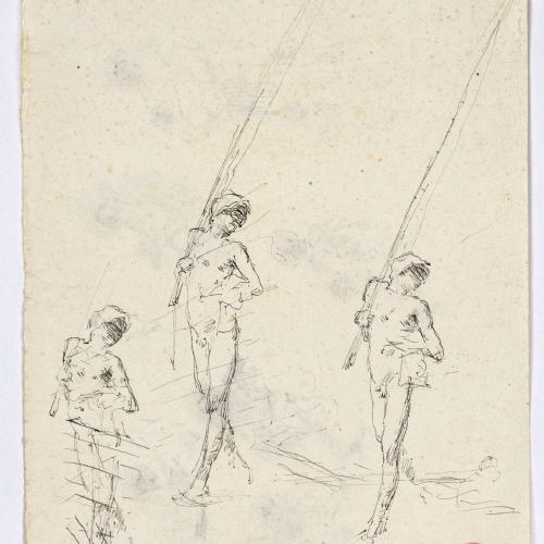Marià Fortuny - Esbós de figures (anvers) / Esbós de pescadors nus (revers) - Cap a 1874 [1]