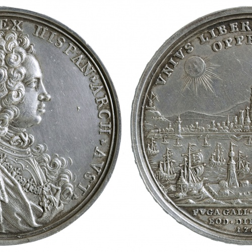 Philipp Heinrich Müller - Alliberament de Barcelona (port de Barcelona i eclipsi) - 1706
