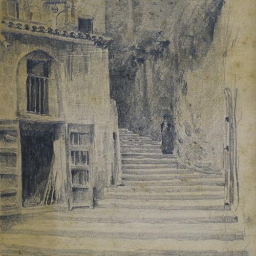 Santiago Rusiñol - Carrer de poble. Granada [?] - Cap a 1895