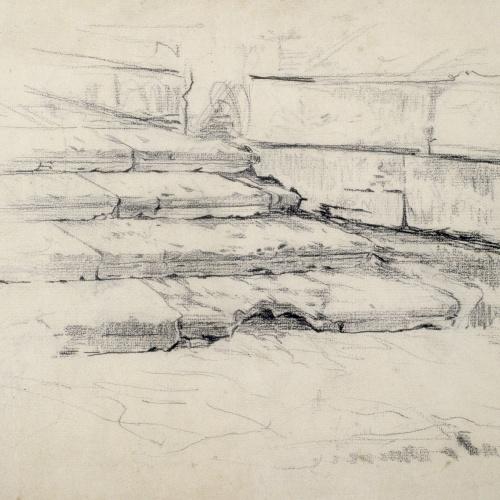 Santiago Rusiñol - Estudi d'una escala - Cap a 1880-1885