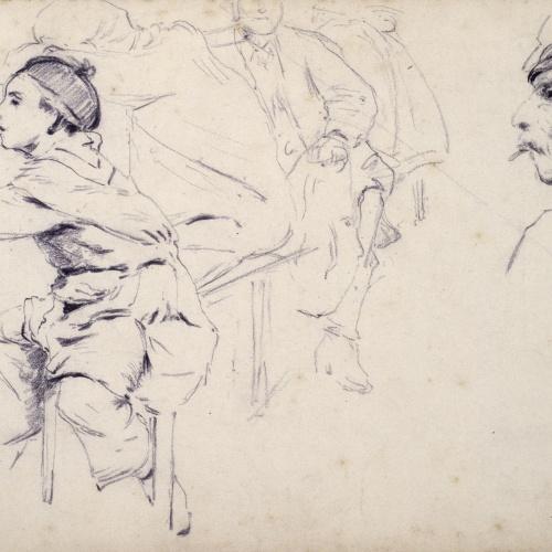 Santiago Rusiñol - Estudi de nens i figures d'homes - Cap a 1883
