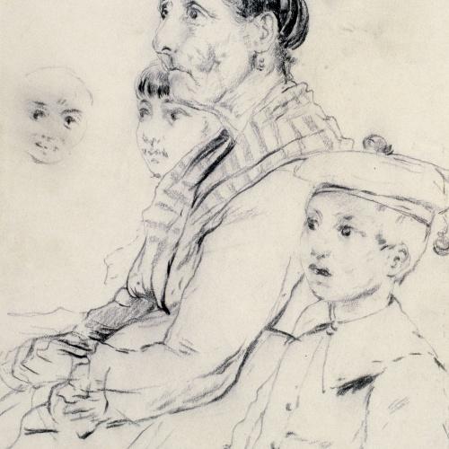 Santiago Rusiñol - Estudi de dona i nens - Cap a 1883