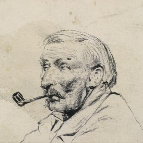 Santiago Rusiñol - Cap d'home fumant en pipa - Cap a 1890-1895
