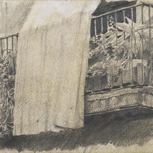 Santiago Rusiñol - Balcó amb flors i cortina - Cap a 1880-1885